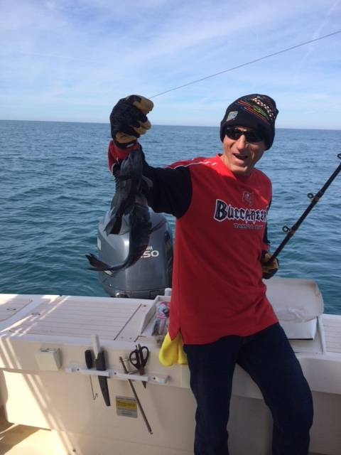Mr. Storm again, with 3 Black Seabass on one cast