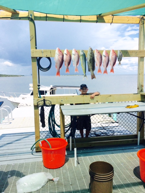 Easton showing off his catch of Cedar Key Red Snapper and Grouper
