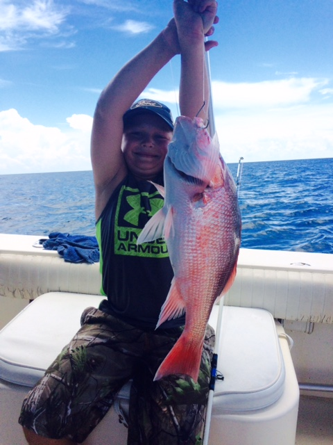 Easton with his 1st Red Snapper