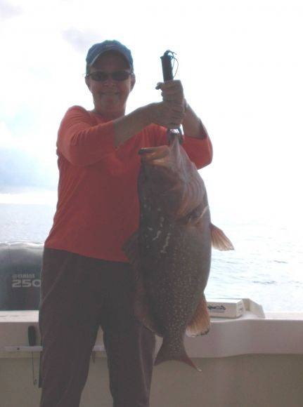 Big Ole Firetruck, Very Nice Red grouper caught on Hooked Up Charters