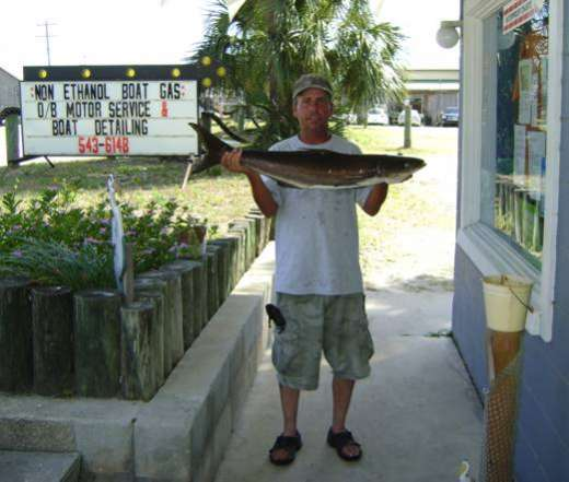 Showing Off A Cobia In Front Of Cedar Key Marina