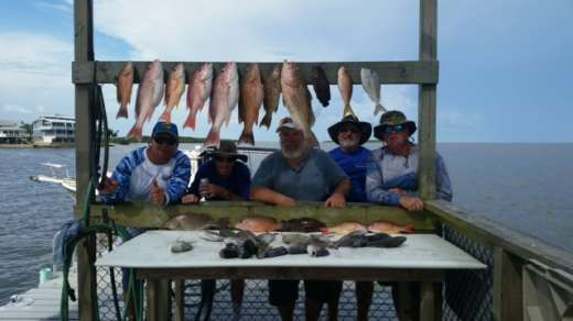 Charles's crew with a bunch of fish