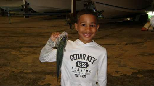 Keegan happy as can be with this blue fish
