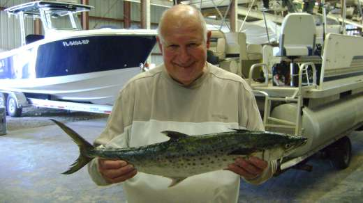 Mr B with a huge Spanish Mackerel, nice catch