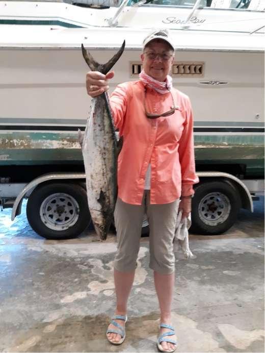 Mrs K with a fine Cedar Key Spanish Mackerel