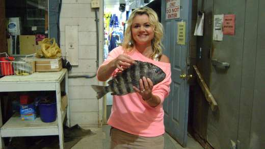 Mrs. Chandler with a nice Sheepshead