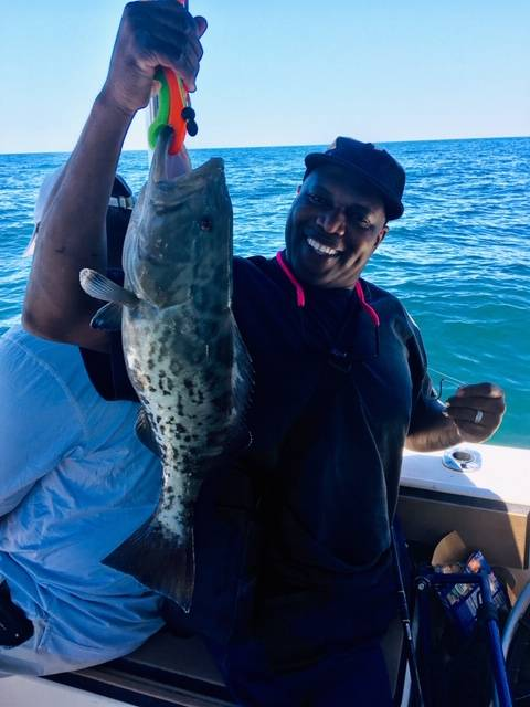 Reggie with a beauty of a Gag Grouper, released unharmed