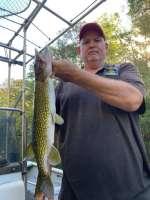 A Slick Charter's Customer With A Fine Ocklawaha Pike ... aka, Fresh Water Barracuda, Jack Fish (Trash fish to some bass fishermen)