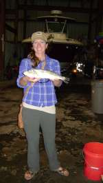 Miss. Morgan with a big trout 5lb caught near Sea Horse Key