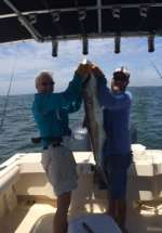 Loss charter with a monster 44 lbs cobia caught with Capt John of Hooked Up Charters