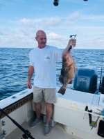 """An Indiana customer With A Nice 35"""" Red Grouper"""
