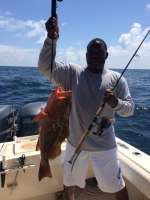 Leonard With A Nice Red Grouper Caught With His Trout Rod In 50 Fee