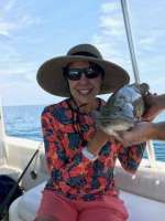 Mrs Scott with a grumpy grouper, released unharmed
