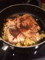 Pan seared Seatrout w/ Rosemary and Corn.... MMM