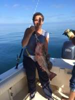 "Susan ""Ms. BirdDog"" with nice Red Grouper"