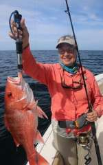 Mrs. K. With A Beaut Of A Red Snapper, Released Unharmed For Next June