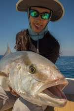 Showing off an amberjack