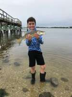 Seth with a nice Snook off the Cedar Key dock released unharmed