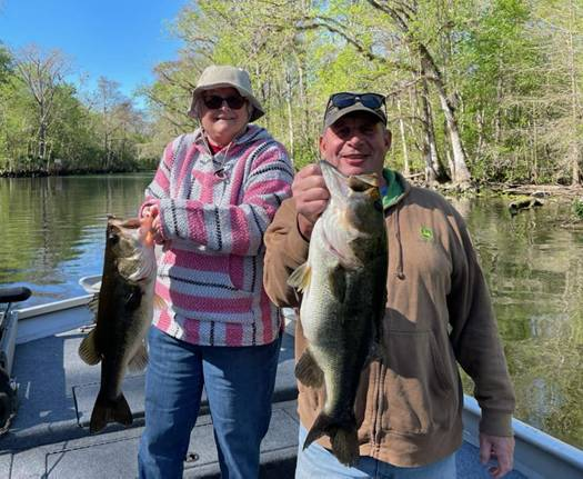 Wayne and Lana with Ocklawaha Largemouth caught simultaneously